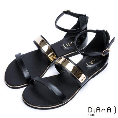 DIANA 極簡韓風--金屬飾片點綴真皮繫帶平底涼鞋 –黑
