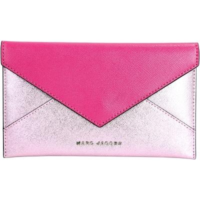 MARC JACOBS Saffiano Envelope 拼色防刮皮革信封造型皮夾(桃)