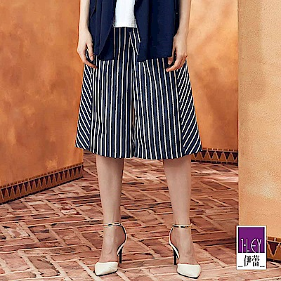 ILEY伊蕾 時尚剪接條紋六分寬褲(藍)