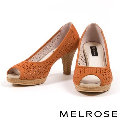 高跟鞋-MELROSE-細緻雕花打洞造型牛皮魚口高