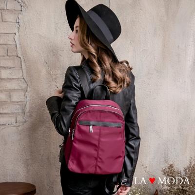 La Moda 模特街頭穿搭必備十字紋真皮牛皮配尼龍布防潑水後背包(紅)