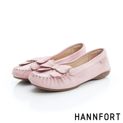 HANNFORT RIPPLE蝴蝶結真皮樂福鞋-女-氣質粉