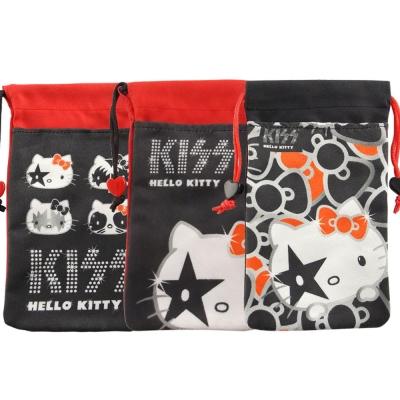 KISS HELLO KITTY 4.7吋通用時尚雙層收納束口袋