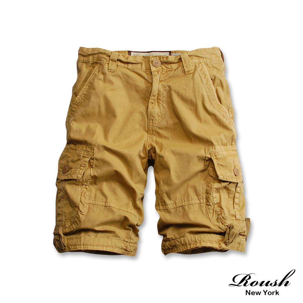 Roush- 高磅數單釦設計雙口袋水洗短褲