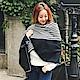 梨花HaNA-韓國簡潔俐落OL雙面直紋流蘇圍巾披肩