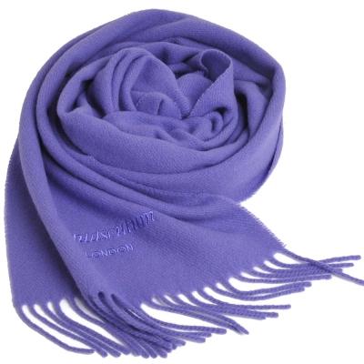Aquascutum 高質感100%羊毛經典品牌字母LOGO刺繡圍巾(水晶紫)