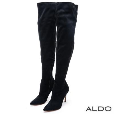 ALDO 魅惑黑色馬鞍車線高跟膝上靴~尊爵黑色