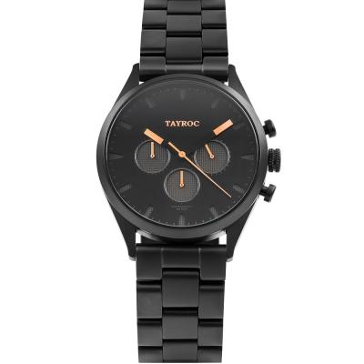 TAYROC 英式風尚三眼計時手錶-黑X玫瑰金/42mm