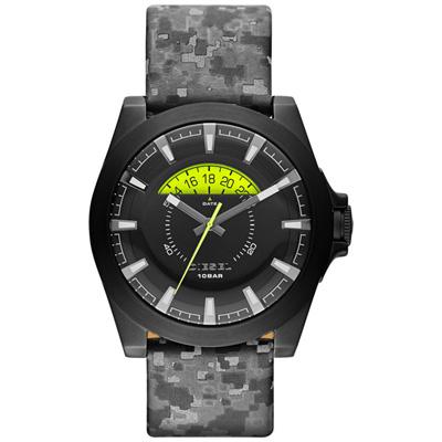 DIESEL 嶄新眺望個性皮帶腕錶-黑x迷彩/46mm