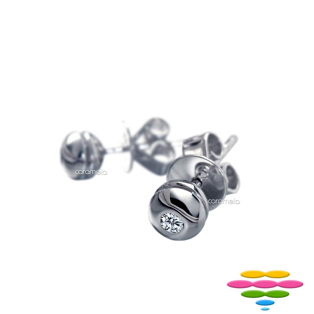 彩糖鑽工坊 18K 包鑲鑽石耳環 圓舞曲系列