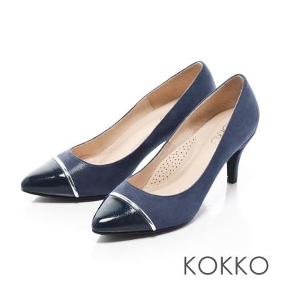 KOKKO-尖頭異材拼接金屬環高跟鞋-藍