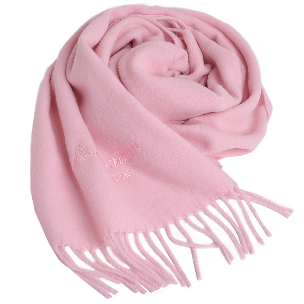 Aquascutum 高質感100%羊毛經典品牌字母LOGO刺繡圍巾(粉紅)