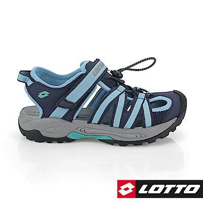LOTTO 義大利 女 排水護趾涼鞋(藍)