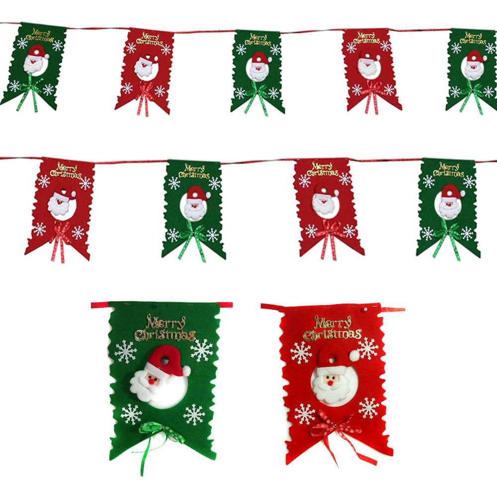 聖誕布旗拉條-紅綠聖誕老公公