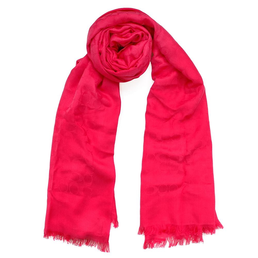 COACH果紅色C Logo棉絲寬版長圍巾(206x64)COACH