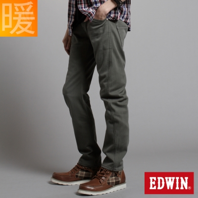 【EDWIN】大尺碼 W.F EF迷彩中直筒保溫褲-男款(橄欖綠)