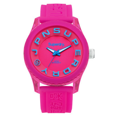 Superdry 極度乾燥 急速衝刺 矽膠 運動腕錶-桃紅x藍帶/桃紅面/38mm