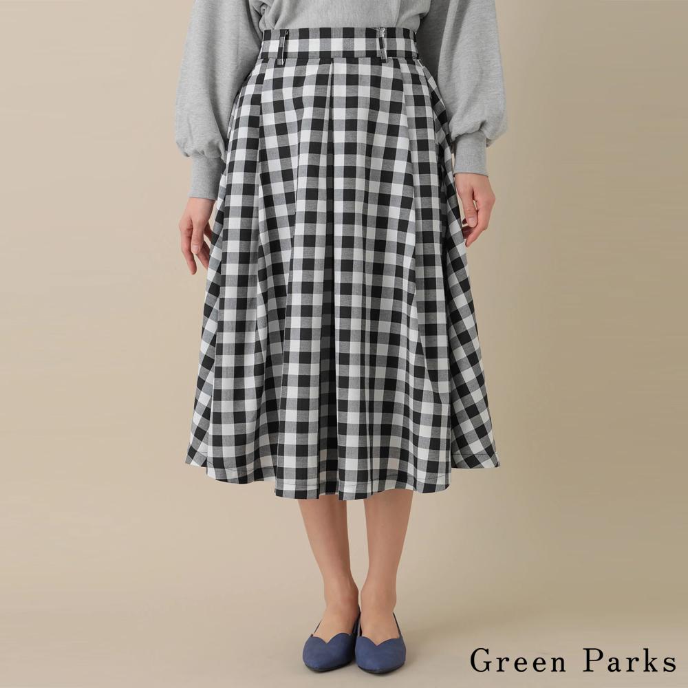 Green Parks不規則下擺打褶格子裙