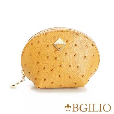 義大利BGilio 時尚駝鳥紋牛皮零錢包(小) -駝色1963.302A-04
