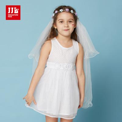 JJLKIDS  唯美小公主花朵綁帶無袖洋裝(本白)