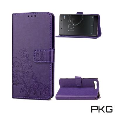 PKG SONY XZ Premium 側翻式皮套-精緻壓花皮套系列-幸運草-紫...