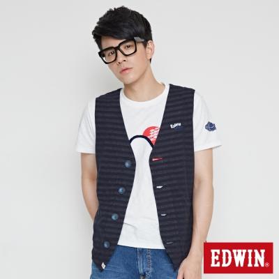 EDWIN-江戶勝-V型條紋開襟背心-男-丈青