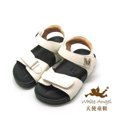 天使童鞋-C2408 小M簡約寶寶學步涼鞋 (小童)-白