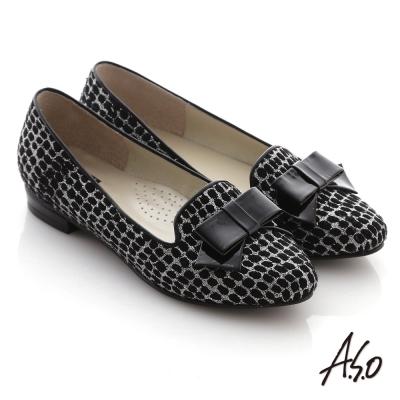 A.S.O 典雅舒適 金蔥網格蝴蝶結飾低跟樂福鞋 黑