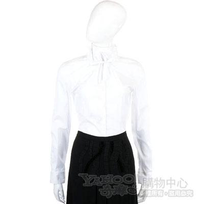 MOSCHINO 白色抽繩領結設計長袖襯衫