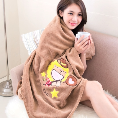 奶油獅-台灣製造-羊羔絨超細纖維雙面隨意保暖毯-星星牛仔款-咖啡