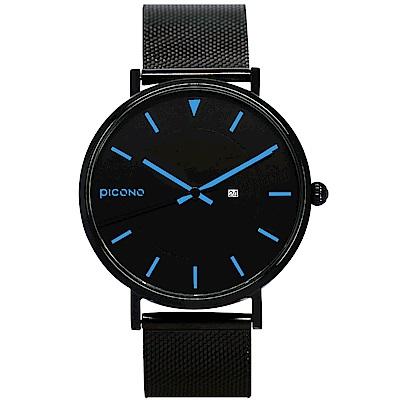 【PICONO】RGB 系列 輕薄黑色快拆式不鏽鋼網帶手錶 / RGB-6403 藍色