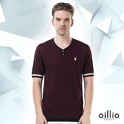 歐洲貴族oillio 短袖線衫 細版條紋 裝飾鈕扣 紅色