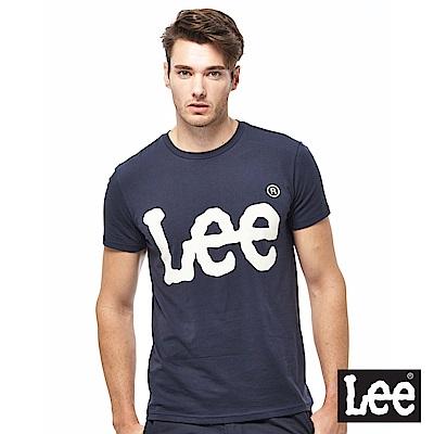 Lee 金屬感LOGO短袖圓領TEE-男款-深藍色