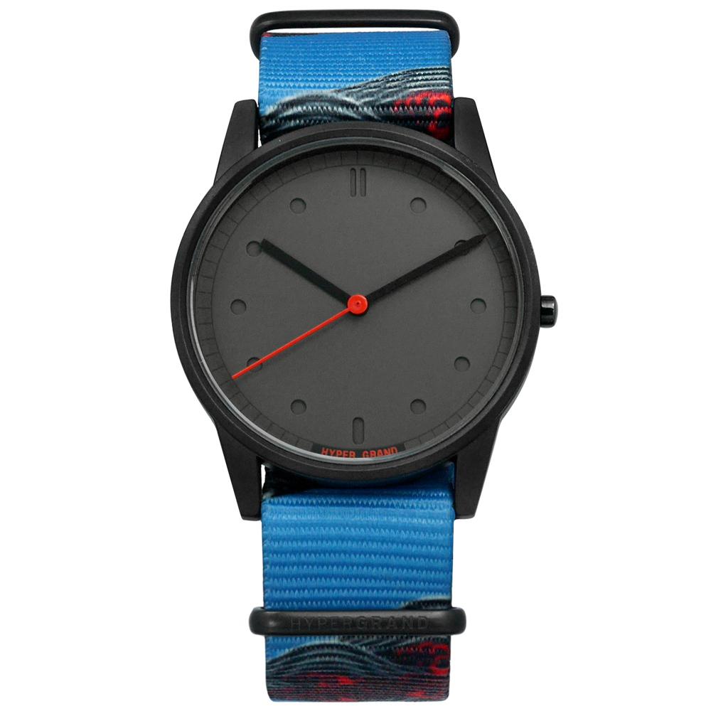 HyperGrand  Holiday  塗鴉藝術極簡面板尼龍手錶-灰x黑框x藍/38mm