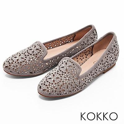 KOKKO -浪漫輕奢感鏤空雕花平底樂福鞋-中性灰