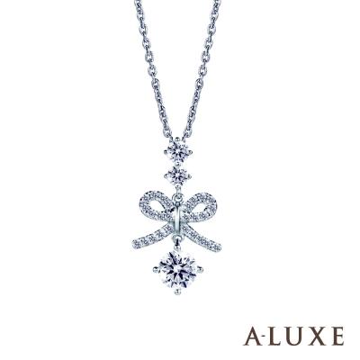 A-LUXE 亞立詩 0.30克拉FVS2 蝴蝶結美鑽項鍊