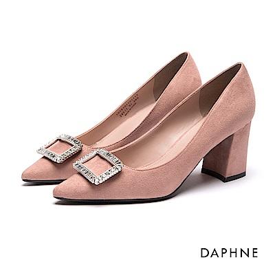 達芙妮DAPHNE 高跟鞋-水鑽方釦布面尖頭馬蹄粗高跟鞋-粉紅