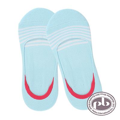 貝柔清爽橫條紋隱形氣墊止滑襪3入組-共六色