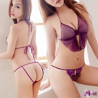 丁字褲 迷情刺繡開襠丁字褲(紫) Moira