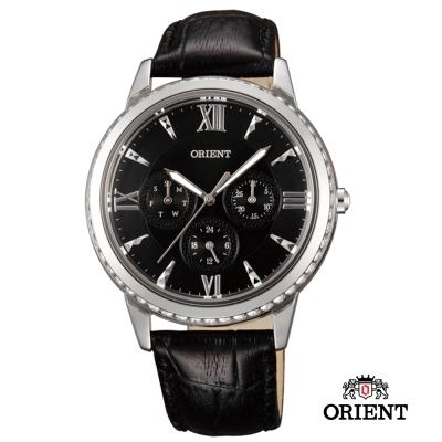ORIENT 東方錶 CASUAL系列 璀璨晶鑽三眼皮帶女錶-黑/39mm