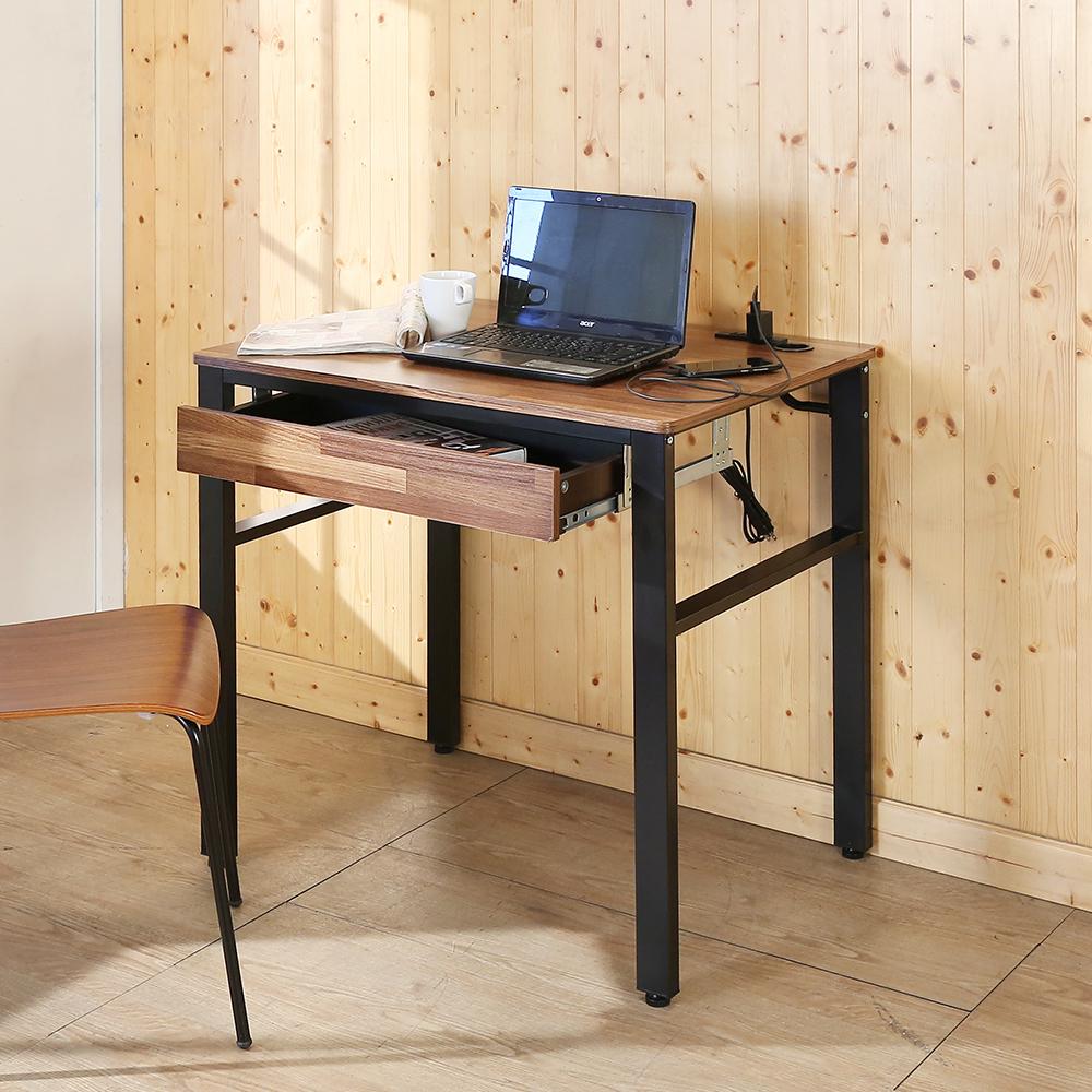 BuyJM工業風低甲醛防潑水80公分單抽屜附插座工作桌80x60x79公分-DIY