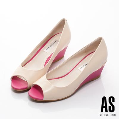 AS-拼接玩色羊皮魚口楔形鞋-米