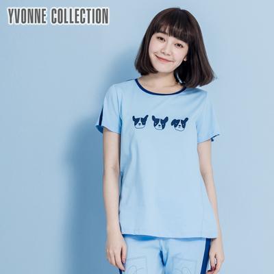 YVONNE三隻小狗滾邊上衣-藍