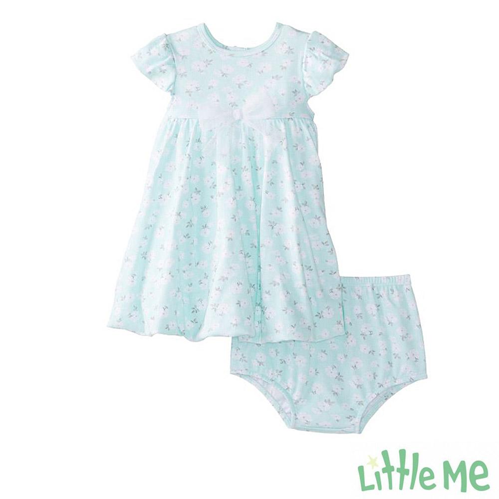 Little Me 嫩綠小花無袖洋裝包屁褲 套裝二件組