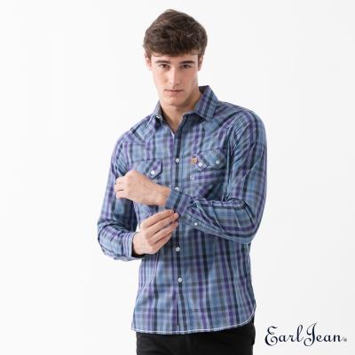 Earl Jean 經典格紋長袖襯衫-中藍-男