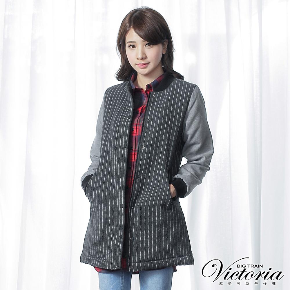 Victoria 毛呢異材質拼接長版外套-女--深灰直條