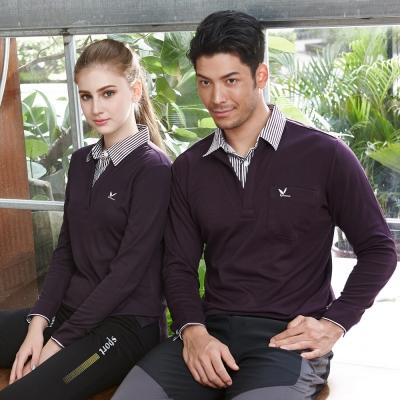 【LEIDOOE】假兩件深紫女款長袖POLO衫 53252
