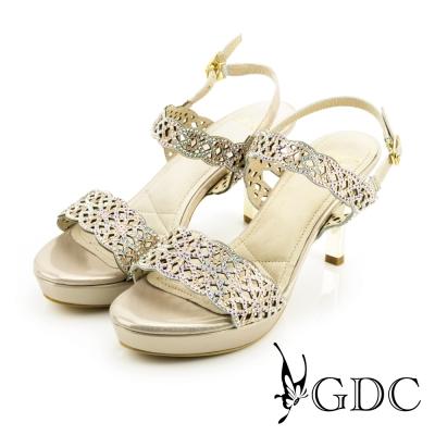 GDC-性感水鑽寶石沖孔側扣帶一字真皮高跟涼鞋-粉色