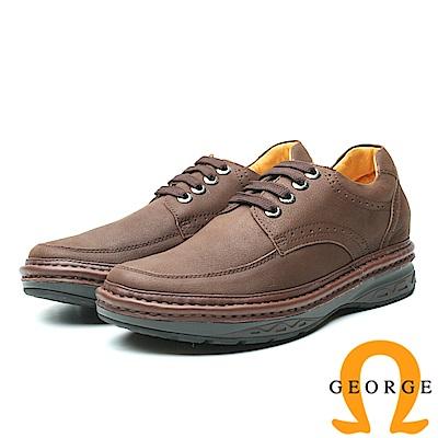 GEORGE 喬治-內增高系列 經典素面款綁帶休閒鞋 男鞋-咖