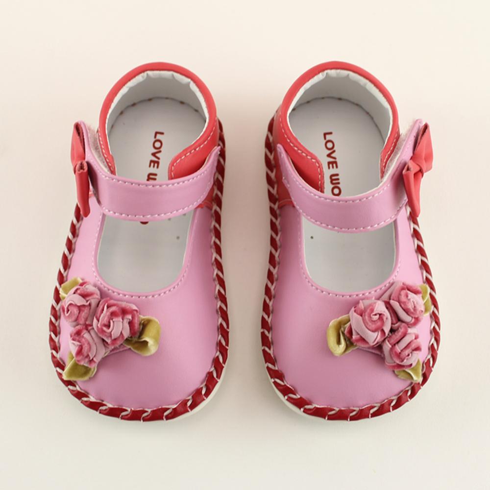 愛的世界 玫瑰花寶寶鞋/學步鞋-台灣製-